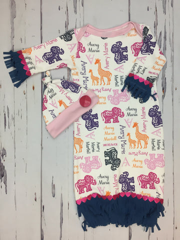 Personalized Elephant & Giraffe Gown Set