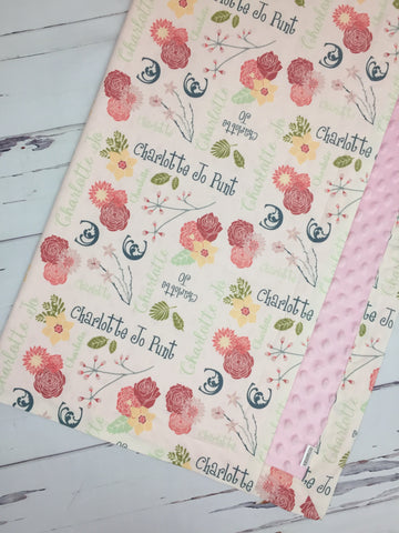 Personalized Pink and Grey Floral Blanket & Burp Cloth Set