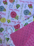 Personalized Rose Floral Blanket & Burp Cloth Set