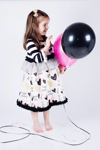 Oaklynn Dress: Personalized Black White & Pink Birthday Heart Dress