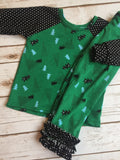 Christmas Pajamas - Green Christmas Trees with Ruffles