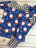 Christmas Pajamas - Santa Claus with Black & White Check