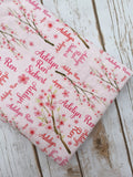 Personalized Cherry Blossom Blanket & Burp Cloth Set