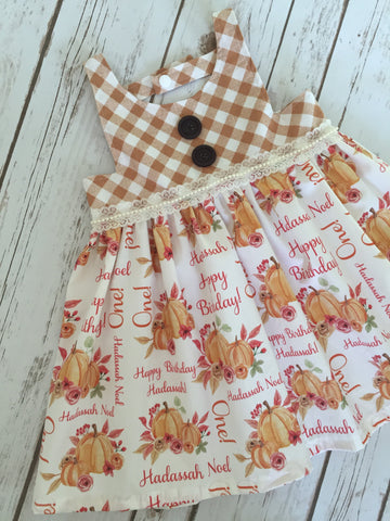 Nora Style Dress: Personalized Pumpkin Fall Dress