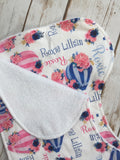 Personalized Hot Air Balloon Floral Blanket & Burp Cloth Set