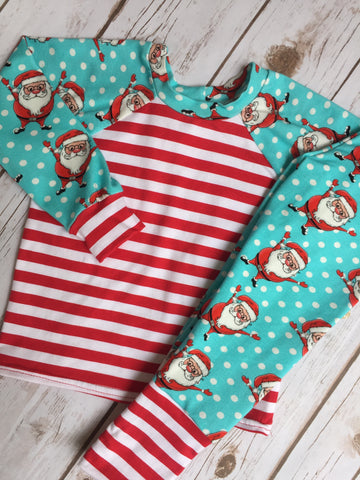 Christmas Pajama's - Blue Santa with Striped Cuffs