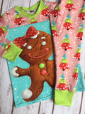 Christmas Pajama's - Pink Christmas Trees With Gingerbread Girl