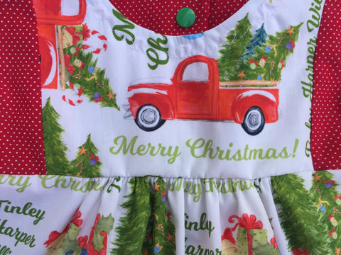 Layla Dress Personalized Rustic Christmas Truck Dress Kidlee