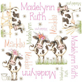 Personalized Dairy Cow Floral Blanket & Burp Cloth Set