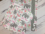 Personalized elephant blanket and burp cloths