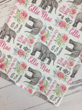 Personalized Watercolor Floral Elephant Blanket & Burp Cloth Set