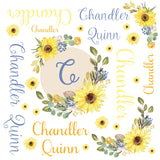 Personalized Sun Flower Floral Blanket & Burp Cloth Set