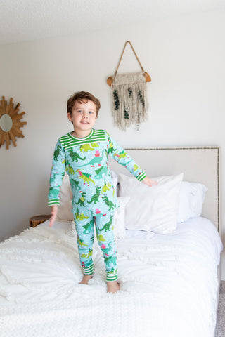 Christmas Pajamas - Christmas Dinosaurs with Green & White Striped Cuffs