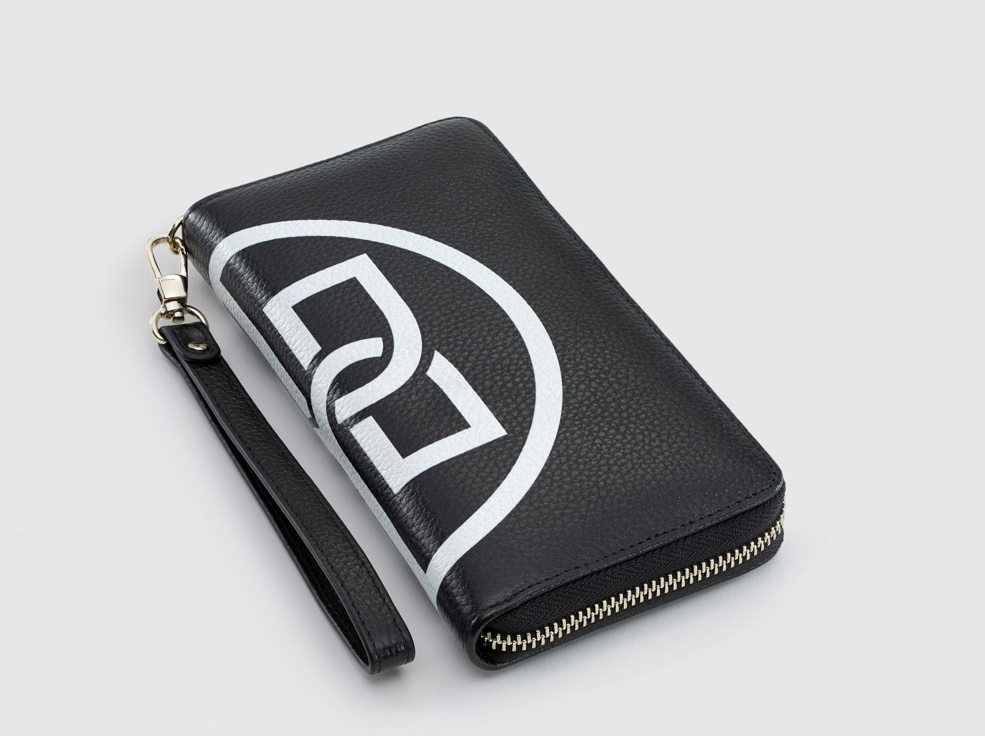 The Freya Black and White Motif Ziparound Wallet