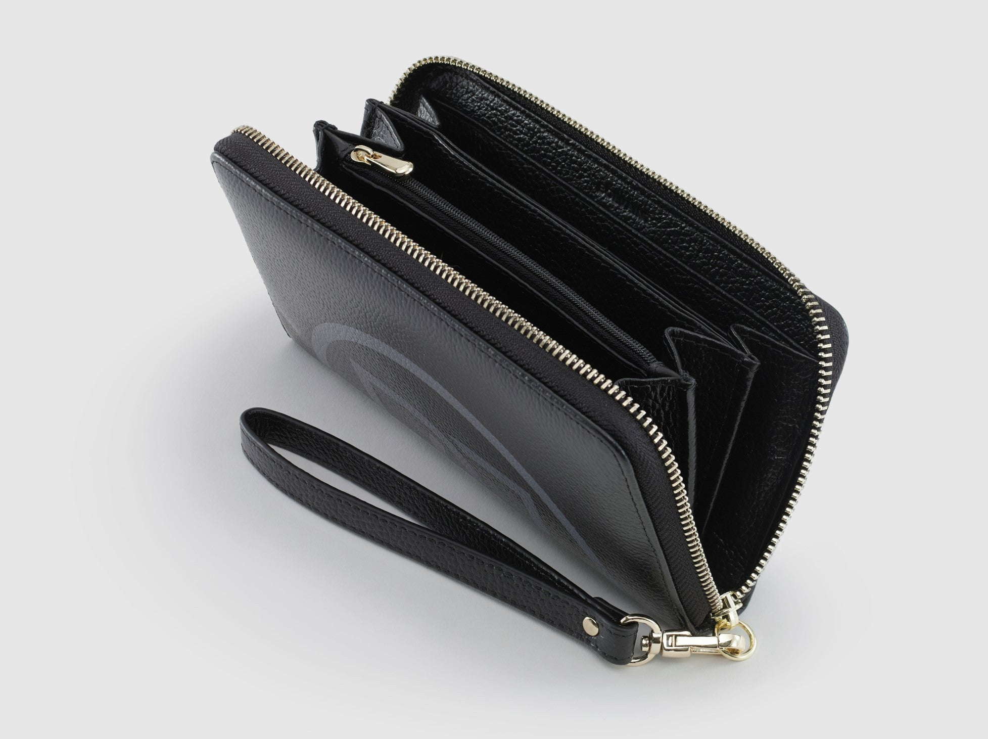 The Freya Black & Grey Motif Ziparound Wallet