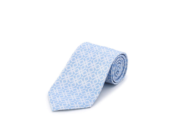 Tabit Blue on White Silk Tie