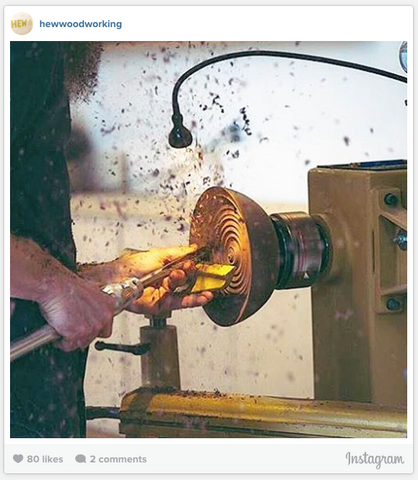 Instagram photo of turning wood on a lathe by @hewwoodworking