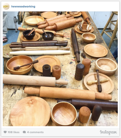 Instagram photo of the results of a teaching class by @hewwoodworking
