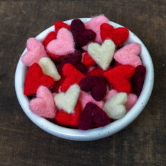 Felted Hearts in Bowl