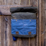 Backpack - Chocolate with Blue Speckled Wool - Wooly Bison - Cascadian Dry Goods