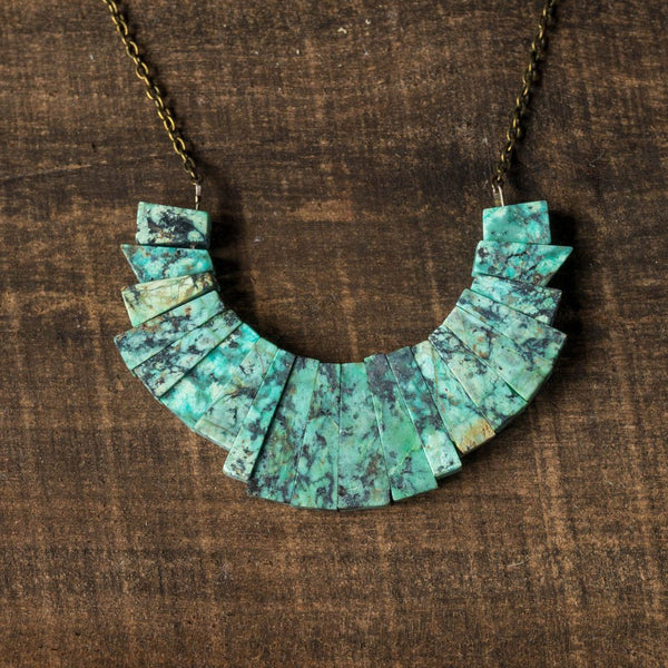 California Greenstone Collar Necklace - Alison Jean Cole - Cascadian Dry Goods