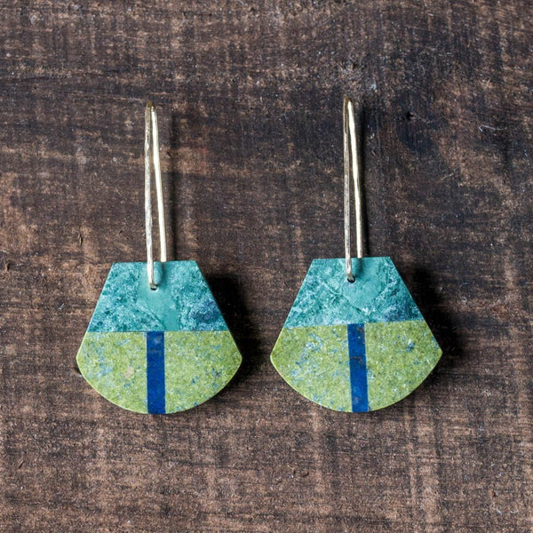 Epidote, Sodalite & Green Marble Earrings - Alison Jean Cole - Cascadian Dry Goods