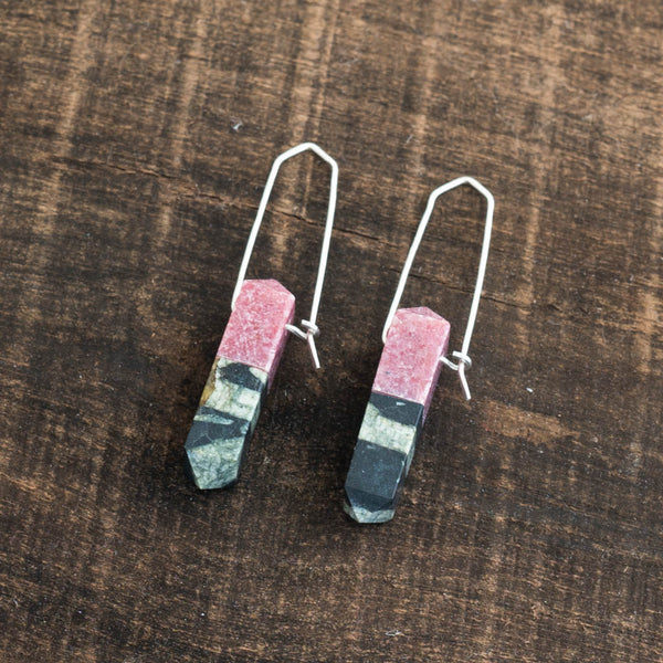 Rhodonite & Porphyry Prism Earrings - Alison Jean Cole - Cascadian Dry Goods
