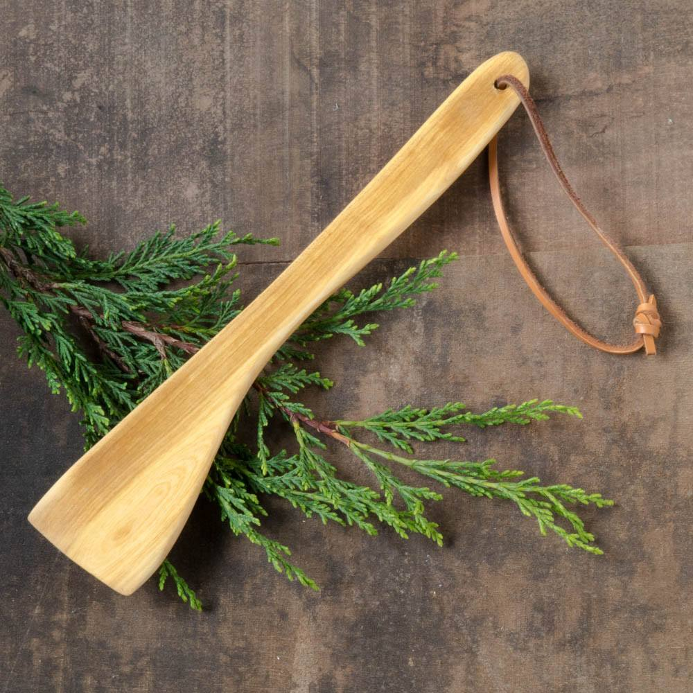 Large Wooden Spatula with Leather Strap - Portland Spoon Company - Cascadian Dry Goods