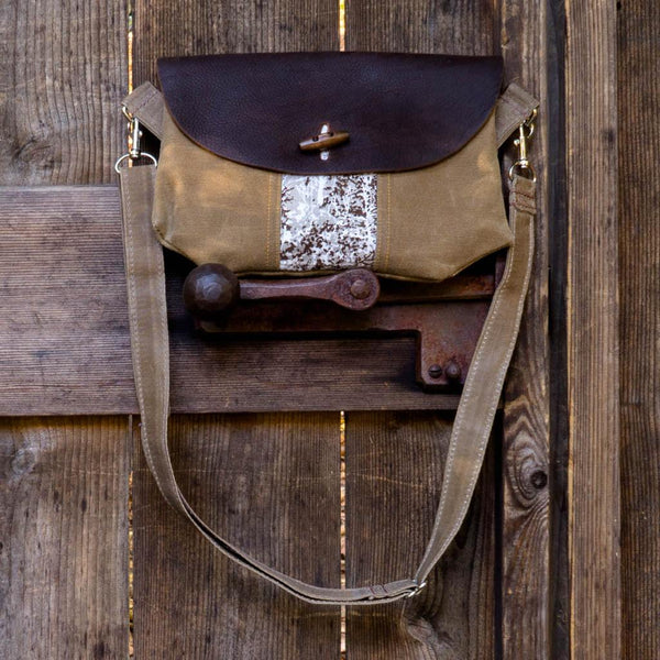 Purse - Leather and Birch Forest - Wooly Bison - Cascadian Dry Goods
