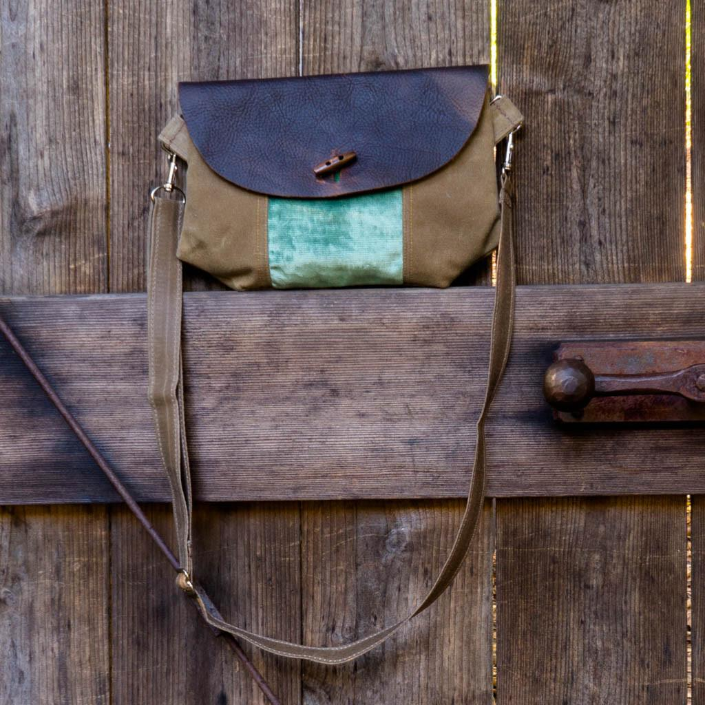 Purse - Leather and Sage Velvet - Wooly Bison - Cascadian Dry Goods