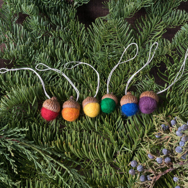 Rainbow Felted Wool Acorn Ornaments - Set of 6 - House of Moss - Cascadian Dry Goods