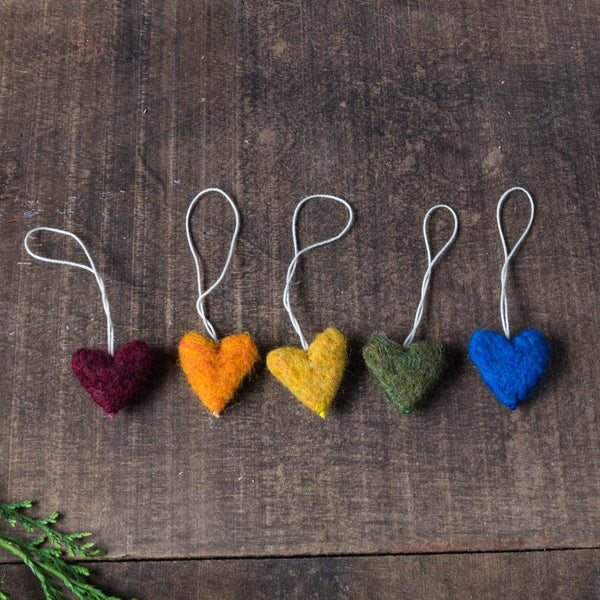 Rainbow Felted Wool Heart Ornaments - Set of 5 - House of Moss - Cascadian Dry Goods