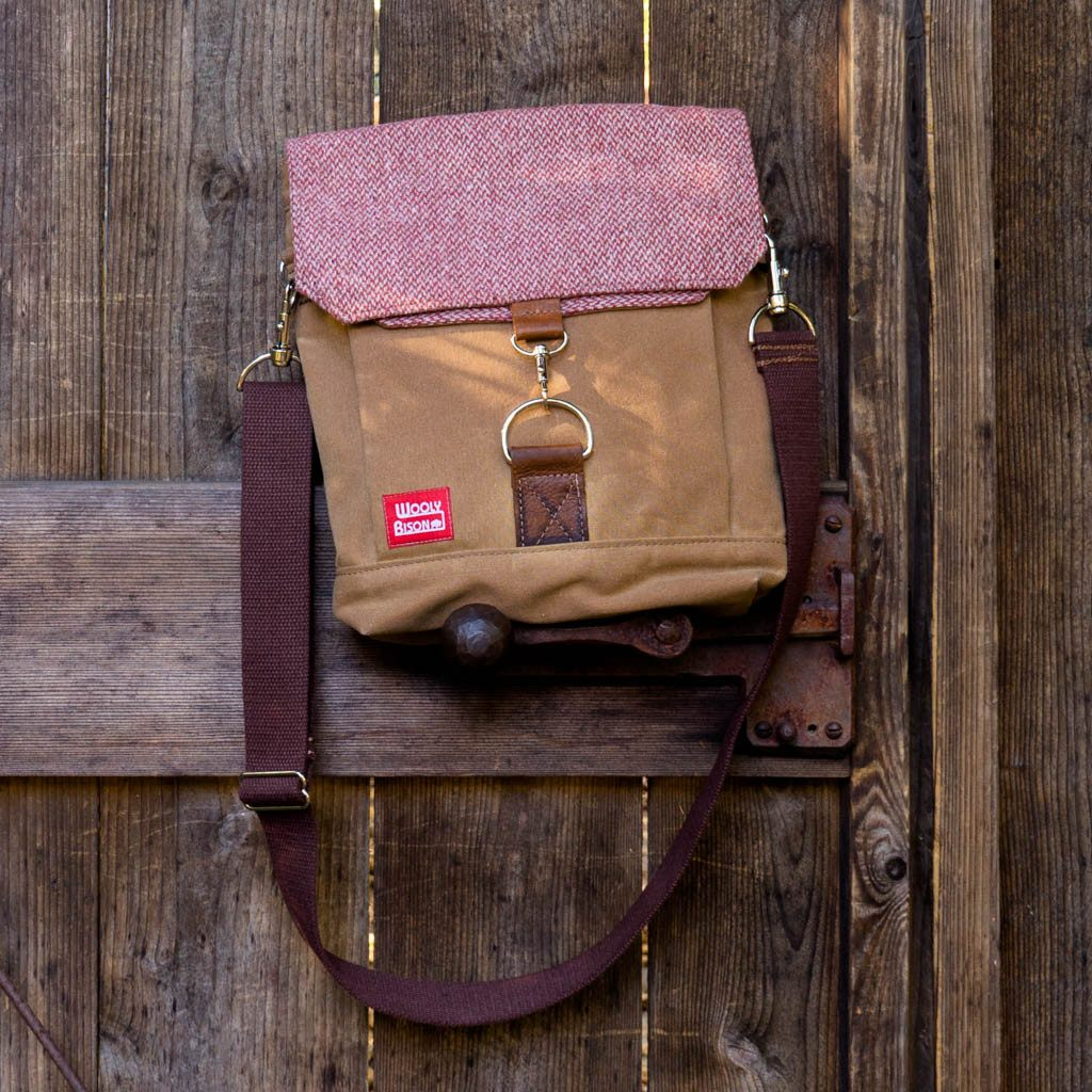 Satchel - Ginger with Cranberry Wool - Wooly Bison - Cascadian Dry Goods