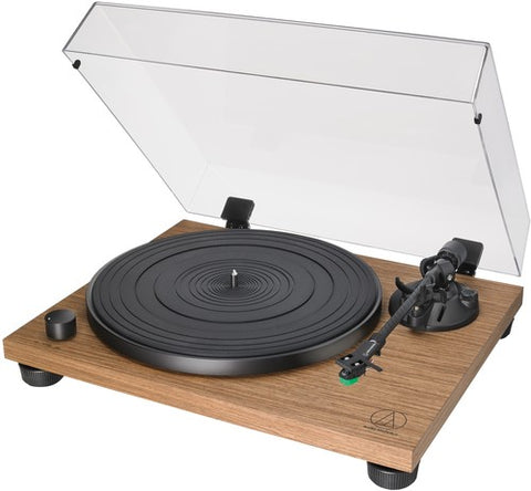 Audio Technica AT-LPW40WN Fully Manual Belt-Drive Turntable Wood Base 33/45 RPM Speeds with Phono Preamp Includes Dust Cover and T-VM95E Dual Moving Magnet Phono Cartridge (Walnut)
