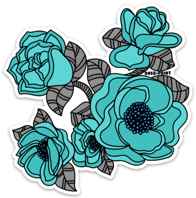 Blue Flowers Vinyl Sticker