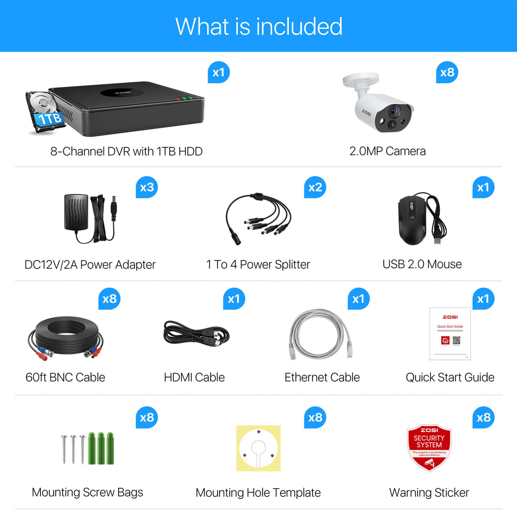 C303 security camera system 8 cameras package