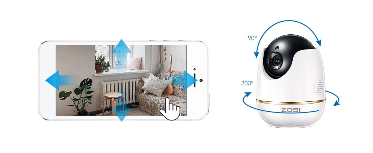 ZOSI ND-5122M HD 1080P Smart WiFi Baby Monitor Camera can 300° Pan and 90° Tilt