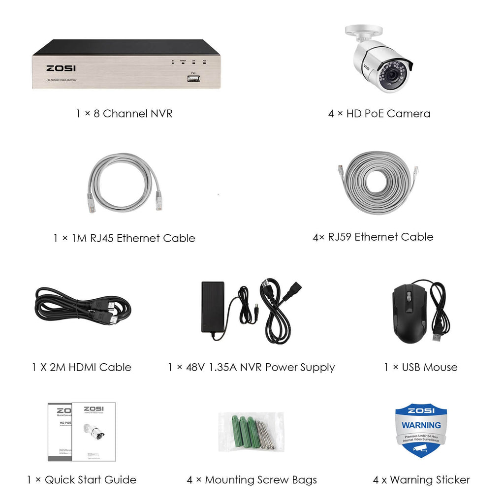 ZOSI 5MP POE system 4 cameras package