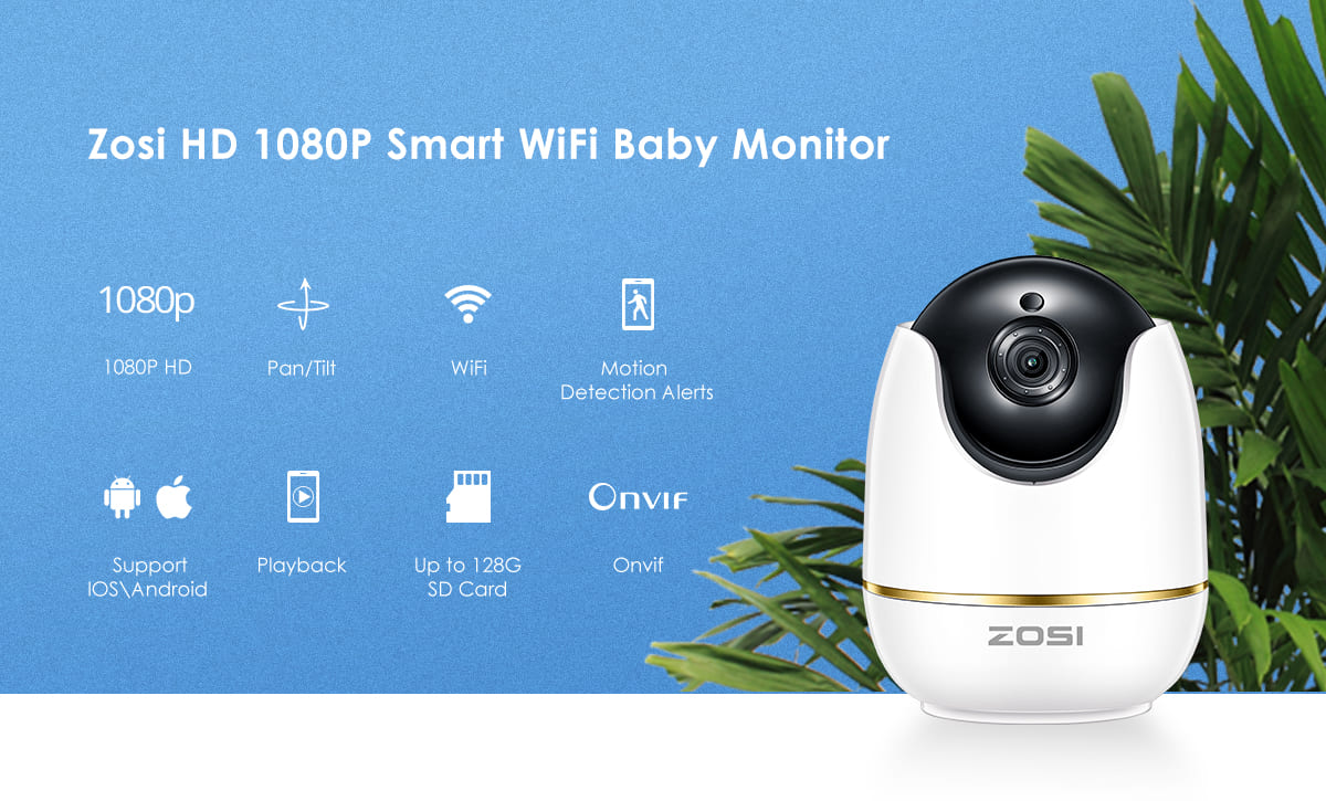 Zosi HD 1080P Smart WiFi Baby Monitor Camera Features