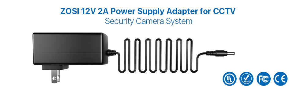 zosi 2a power suplly adapter for cctv security camera