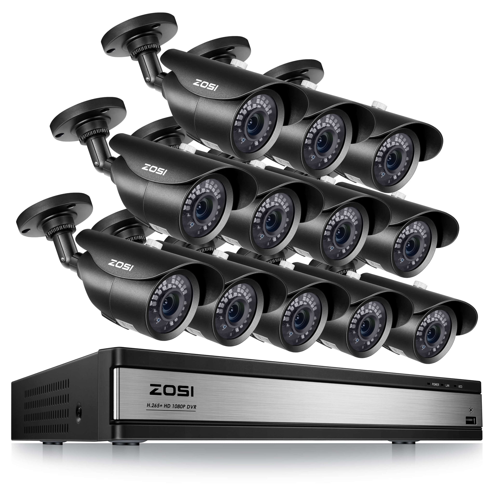 16 Channel DIY Security System, 120ft Infrared Night Vision, IP67 Weatherproof Camera