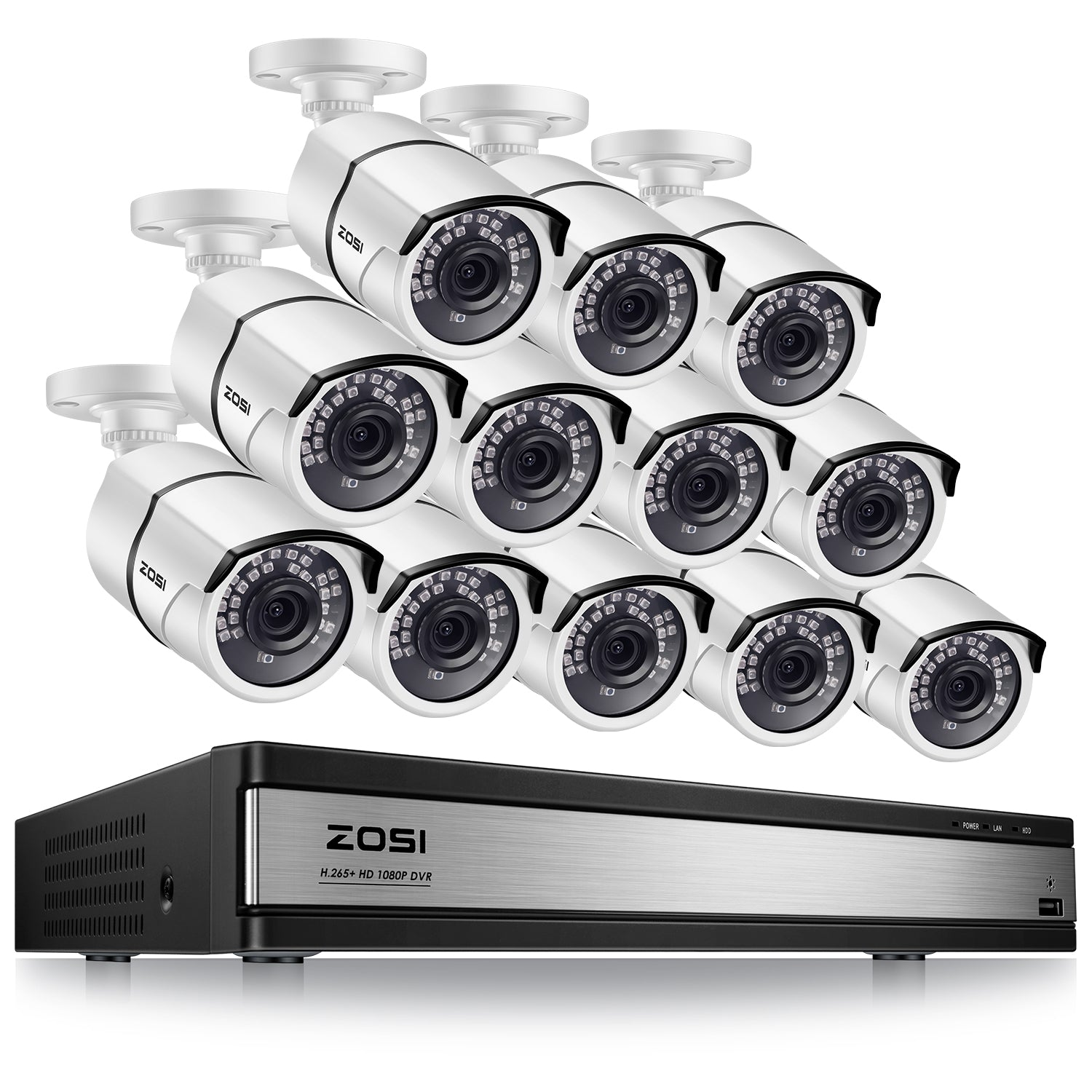 16 Channel Security System, H.265+ Video Compression, 1080P Bullet Cameras, 120ft Infrared Night Vision