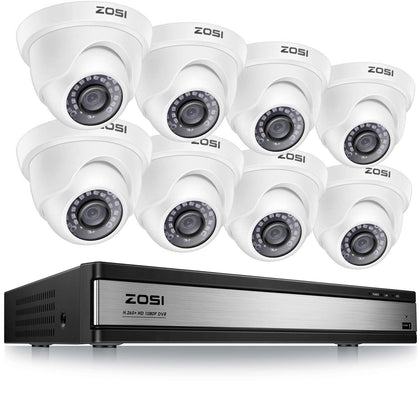 16 Channel H.265+ 1080P Security System, 1080P Dome Cameras, 80ft Infrared Night Vision, 105° View Angle