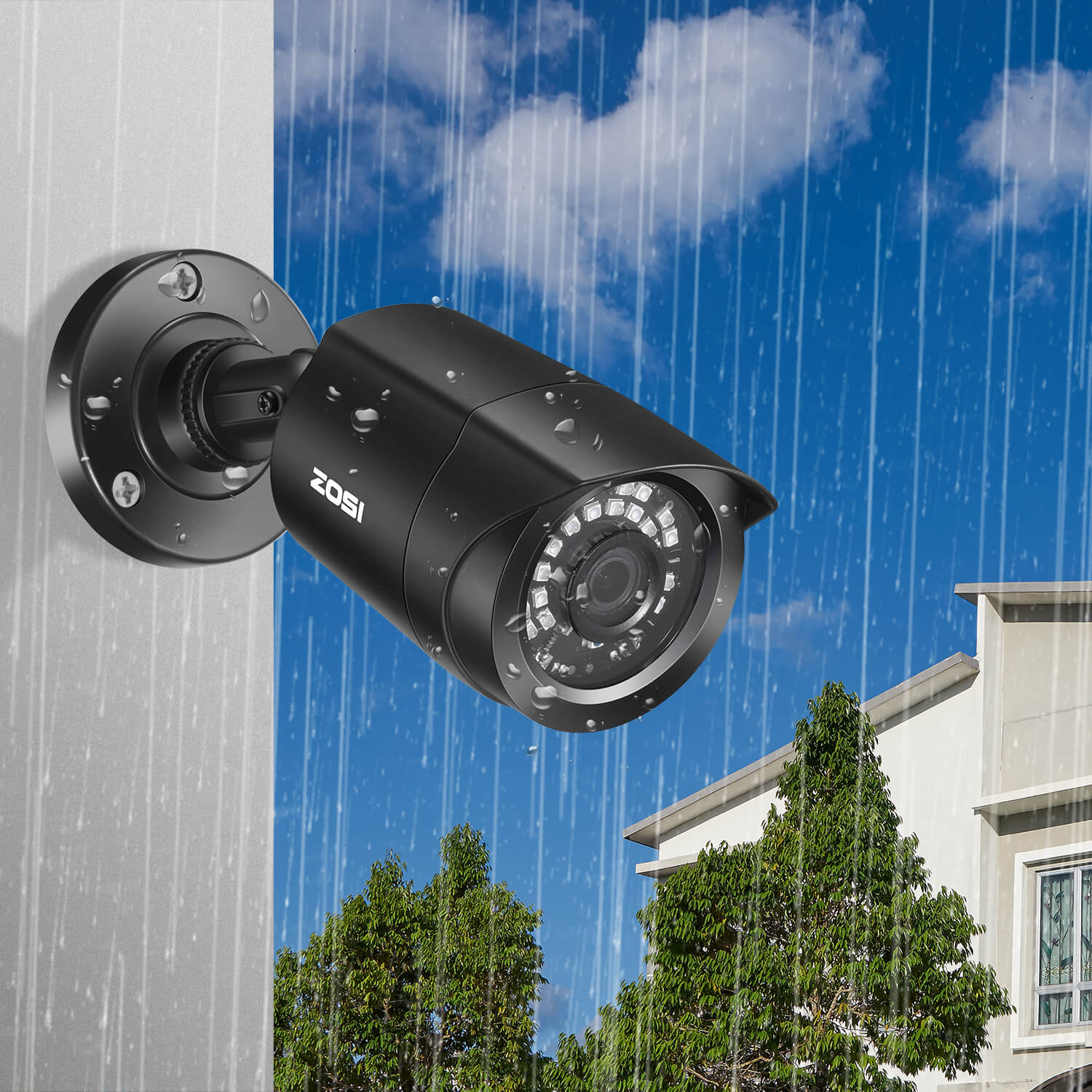 1080P Security Camera, IP66 Weatherproof, 80ft Infrared Night Vision, Compatible with TVI CVI AHD CVBS DVR