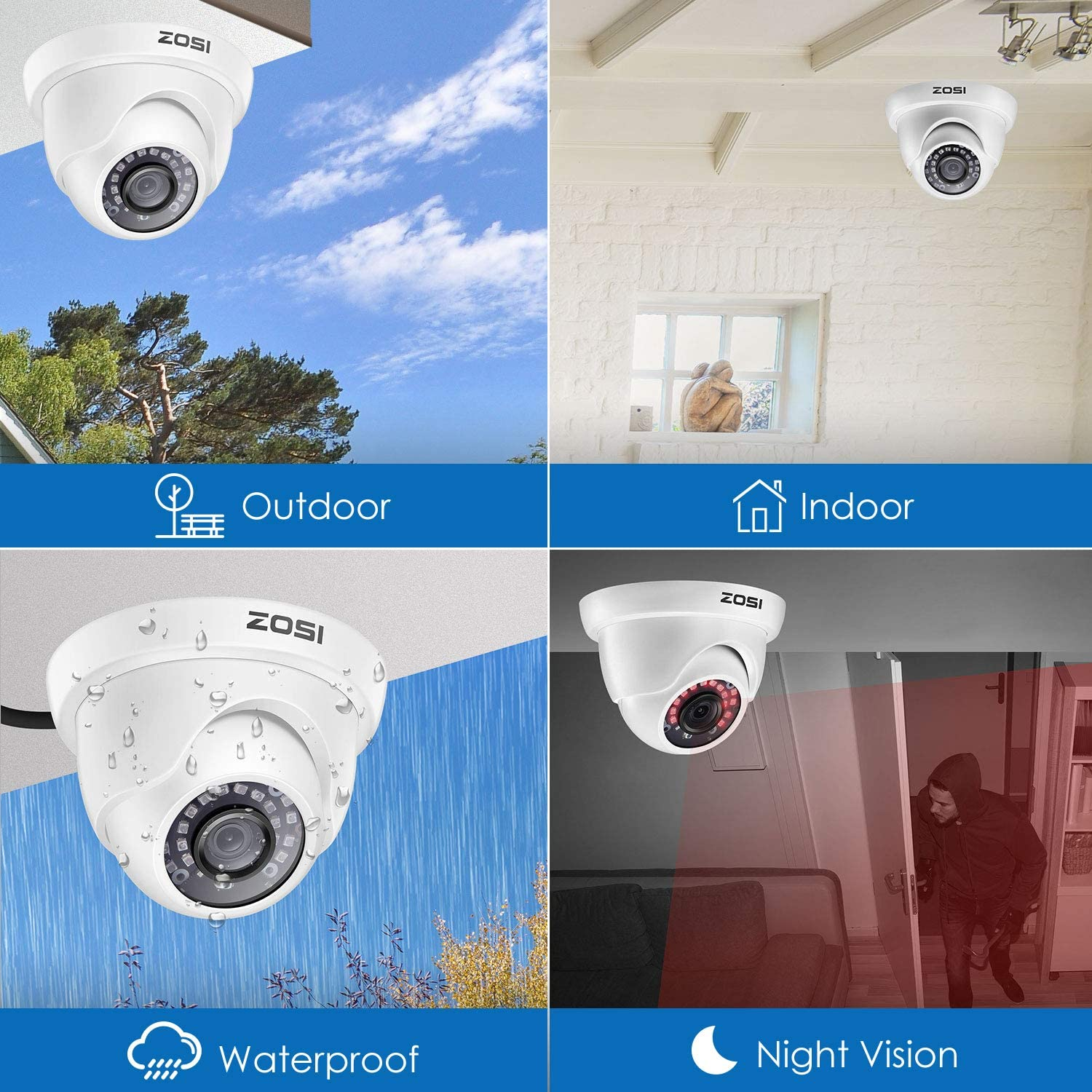 16 Channel 1080P Security System, 1080P Dome Cameras, H.265+Video Compression