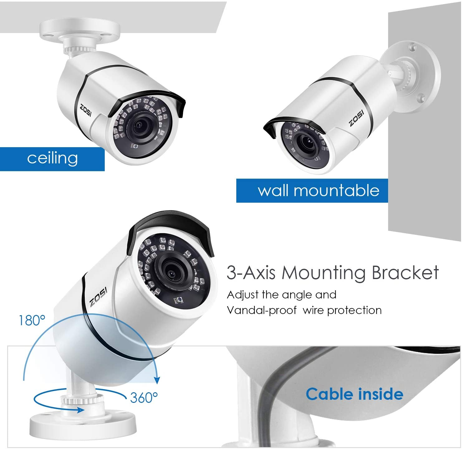 Add-on Camera, 5MP Security Camera, 120ft Infarared Night Vision, Only for ZOSI DVR Security