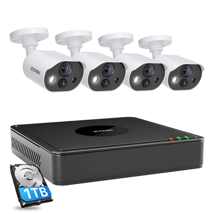 C303 1080P Security Camera System, 8 Channel H.265+ Security DVR, One Way Audio, Motion Activated Light & Siren Alarm, PIR Motion Detection, 120ft Infrared Night Vision