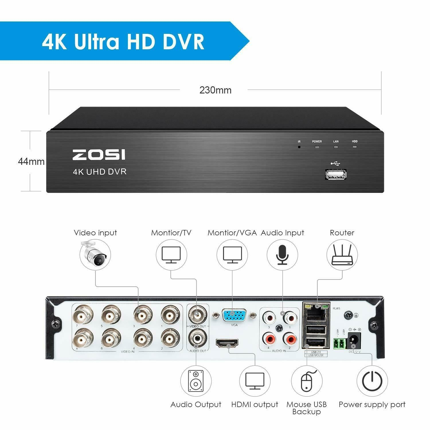 4K Ultra HD 8 Channel DVR, 2TB Hard Drive, H.265+ Security Camera System, Advanced Motion Detecton