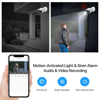 C303 Wired 1080P Security Camera System, One Way Audio Recording, Motion Activated Light & Siren Alarm, PIR Motion Deteciton, 120ft Infrared Night Vision, 1TB Hard Drive