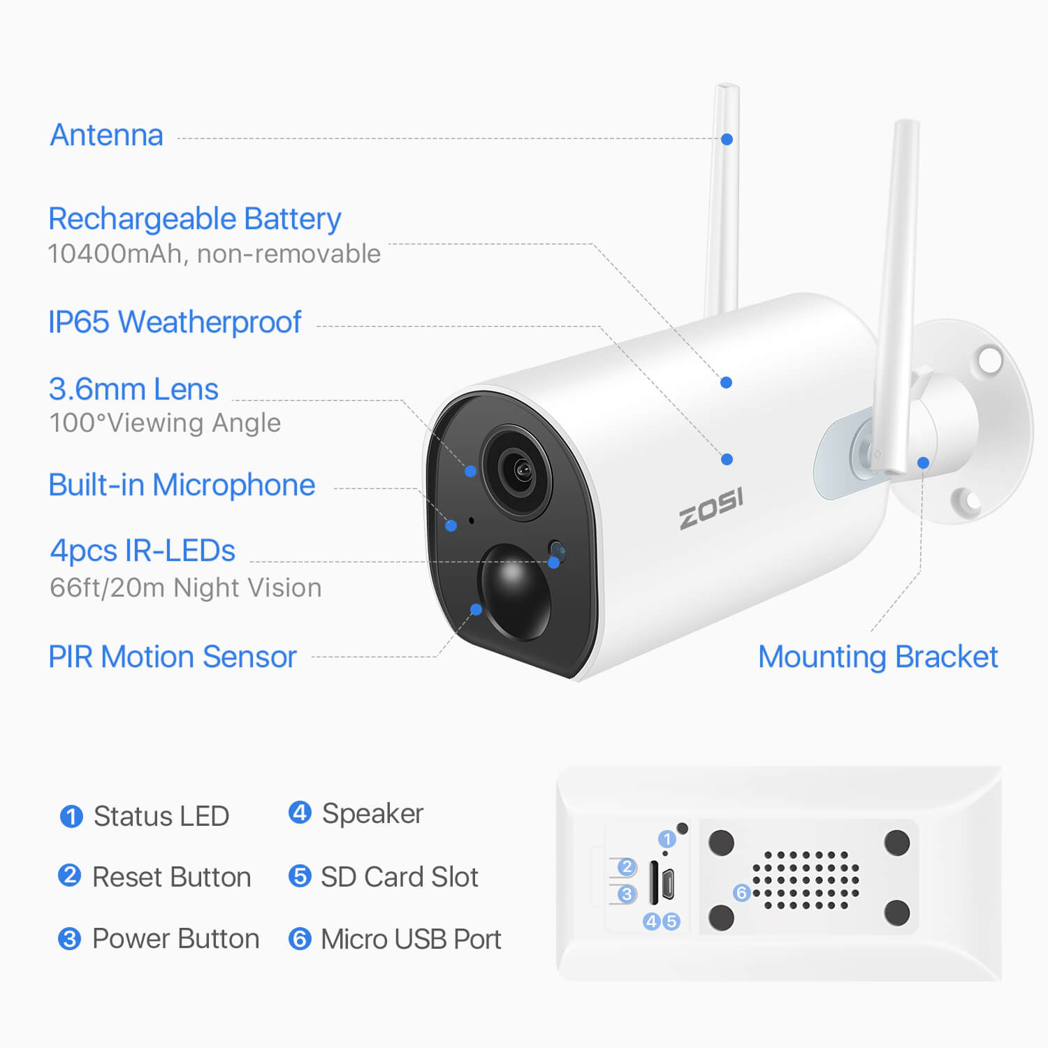 100% Wire Free IP Camera, Rechargeable Battery Powered, PIR Motion Detection, Two Way Audio